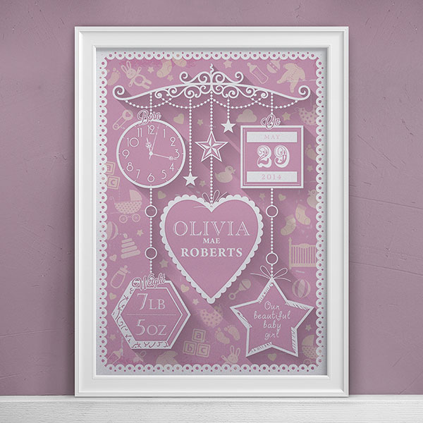 Artetype Personalised New Baby Print