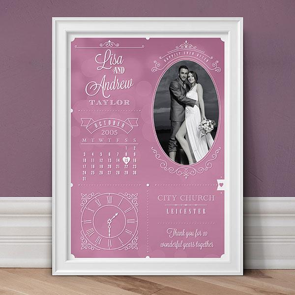 Artetype Personalised Wedding Anniversary Photo Print
