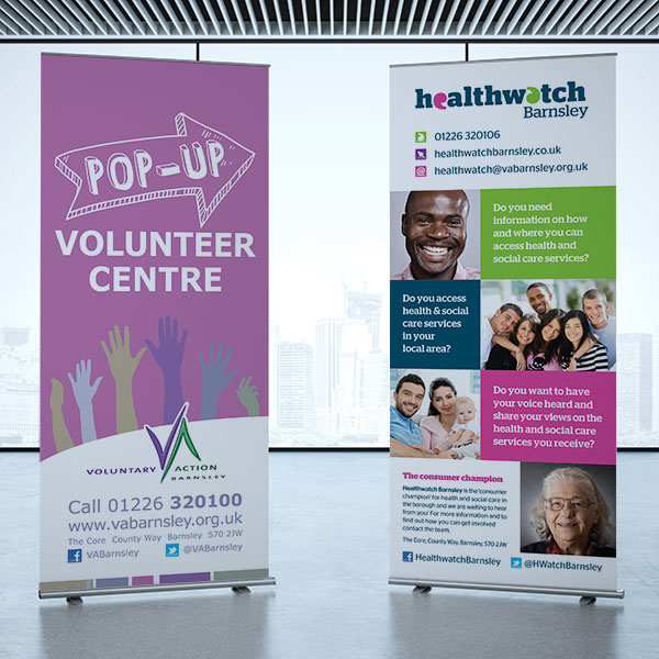 Voluntary Action Barnsley & Healthwatch Barnsley Roller Banners