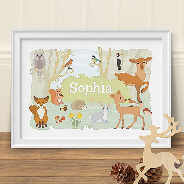 Art Adventure Woodland Animals Personalised Print
