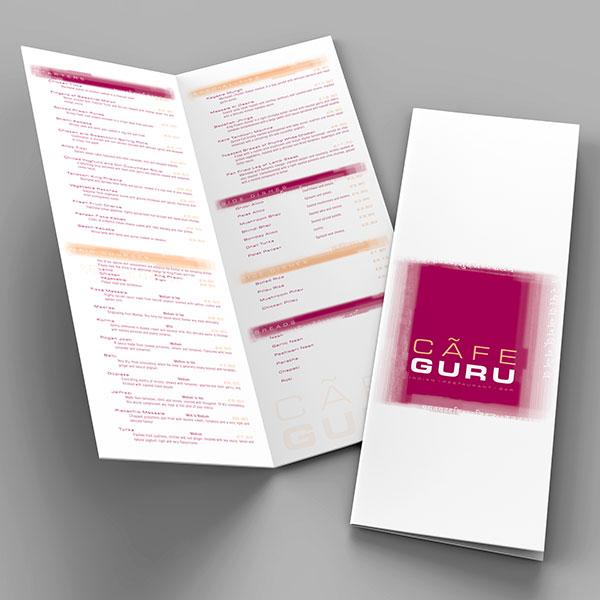 Cafe Guru, Chapel Allerton - Menu Design